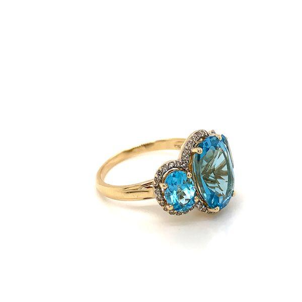 Three Stones Blue Topaz Ring Side