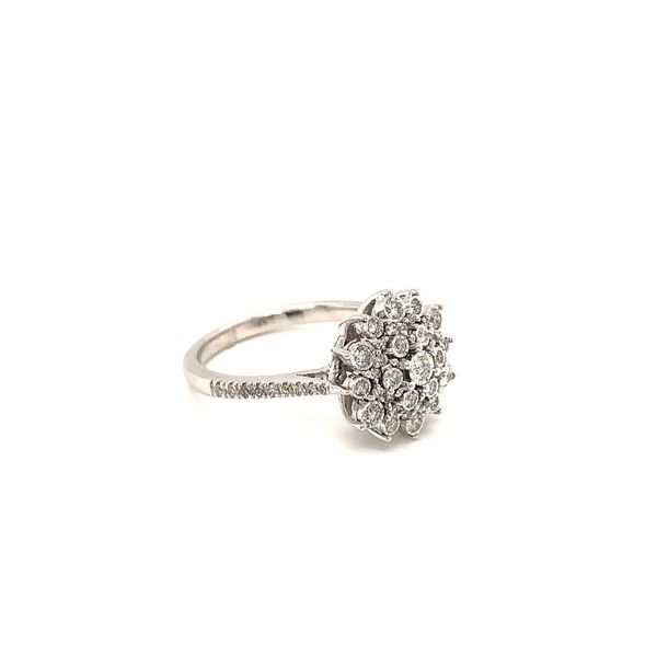 White Gold and Diamond Cluster Ring Image 2 Martin Busch Inc. New York, NY