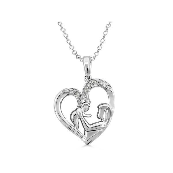 Sterling Silver Diamond Mother and Child Heart Pendant Martin Busch Inc. New York, NY