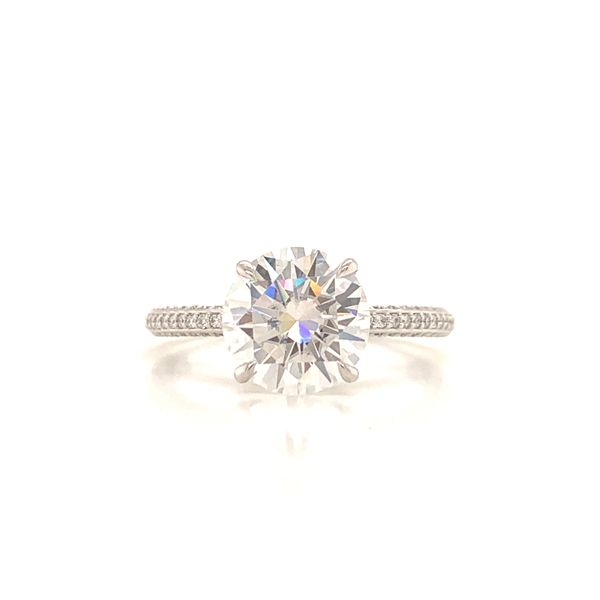 Round White Gold Pave Moissanite Engagement Ring Martin Busch Inc. New York, NY