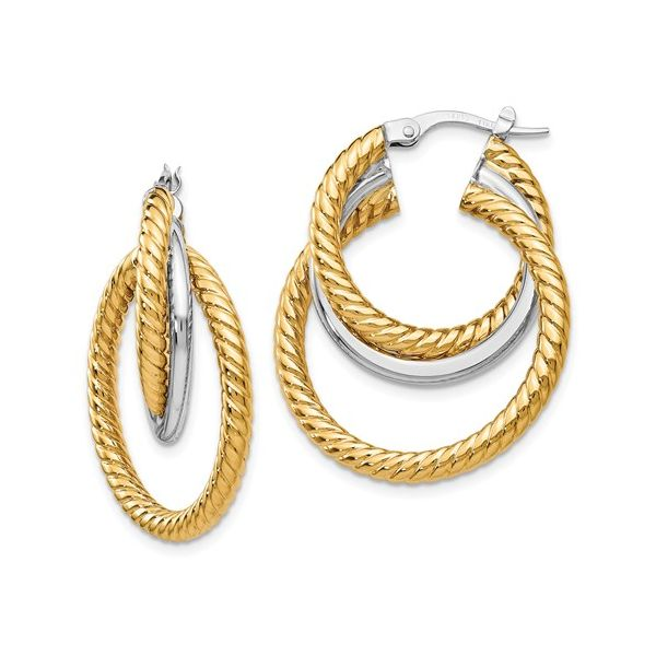 14 Karat White and Yellow Gold Twisted Hoop Earrings Martin Busch Inc. New York, NY