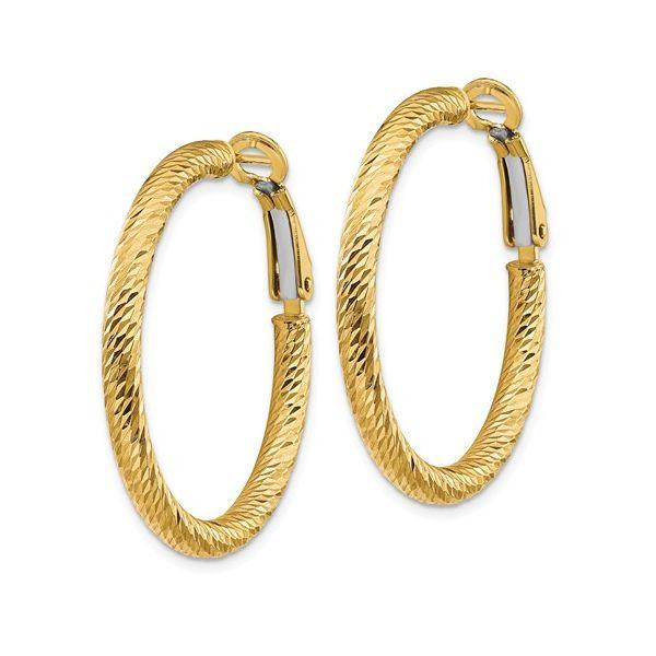 Diamond Cut Omega Back Hoop Earring Martin Busch Inc. New York, NY