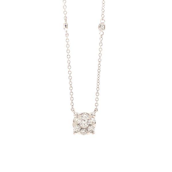 Diamond Cluster Station Necklace Image 2 Martin Busch Inc. New York, NY