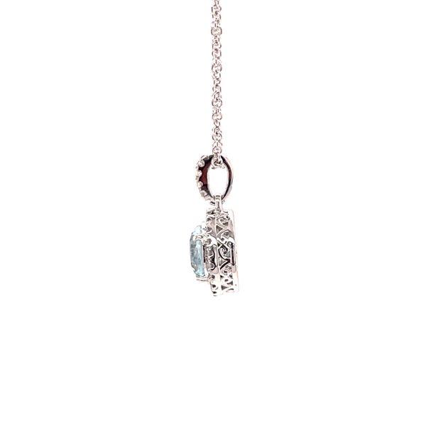 14K White Gold Aquamarine & Diamond Pendant Image 4 Martin Busch Inc. New York, NY