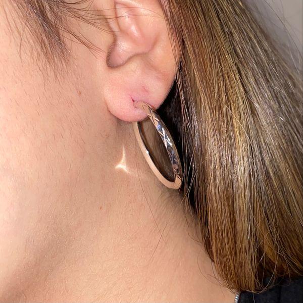 White Gold Medium Hoop Earrings Image 4 Martin Busch Inc. New York, NY