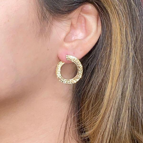Diamond Cut Medium Hoop Earrings Image 2 Martin Busch Inc. New York, NY