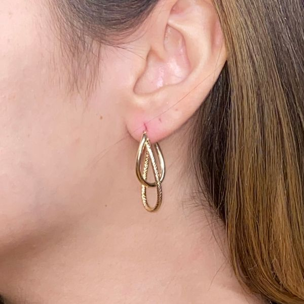 14K Gold Textured Double Hoop Earring Image 4 Martin Busch Inc. New York, NY