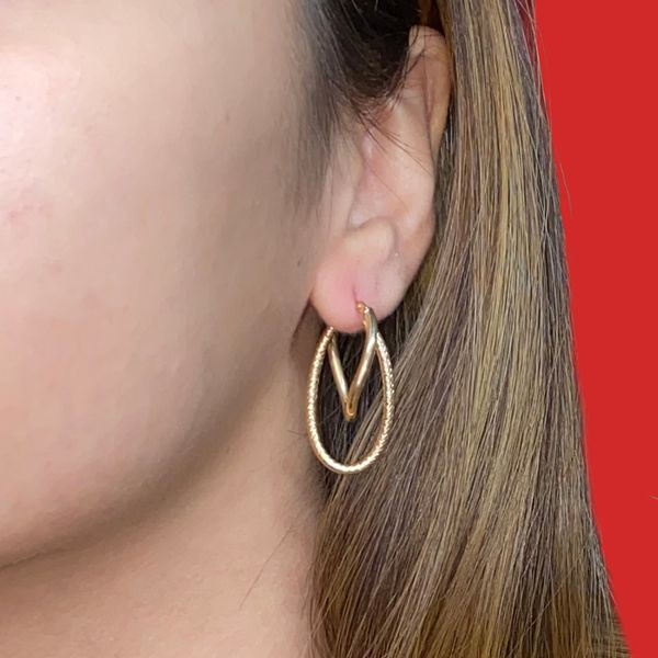 14K Gold Textured Double Hoop Earring Image 5 Martin Busch Inc. New York, NY