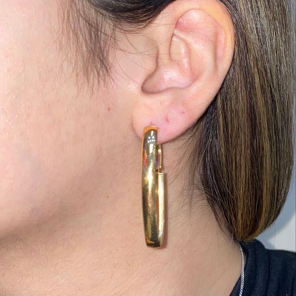 14K Long Omega Back Hoop Earring Image 3 Martin Busch Inc. New York, NY