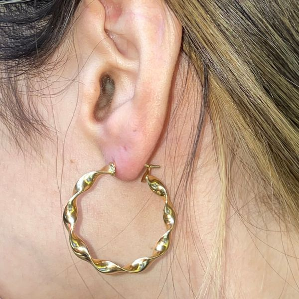 14K Gold Twisted Hoop Image 3 Martin Busch Inc. New York, NY