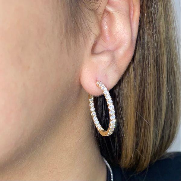 14K Medium Lock Closure Diamond Hoop Earring Image 2 Martin Busch Inc. New York, NY