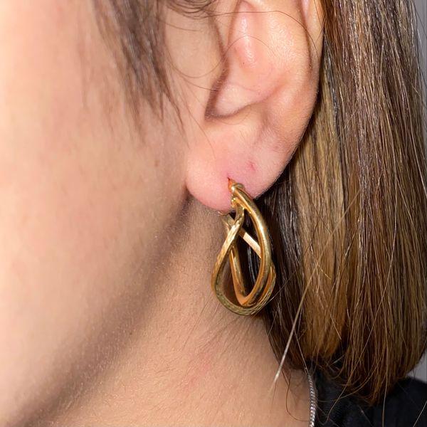14K Medium Double Hoop Earrings Image 3 Martin Busch Inc. New York, NY
