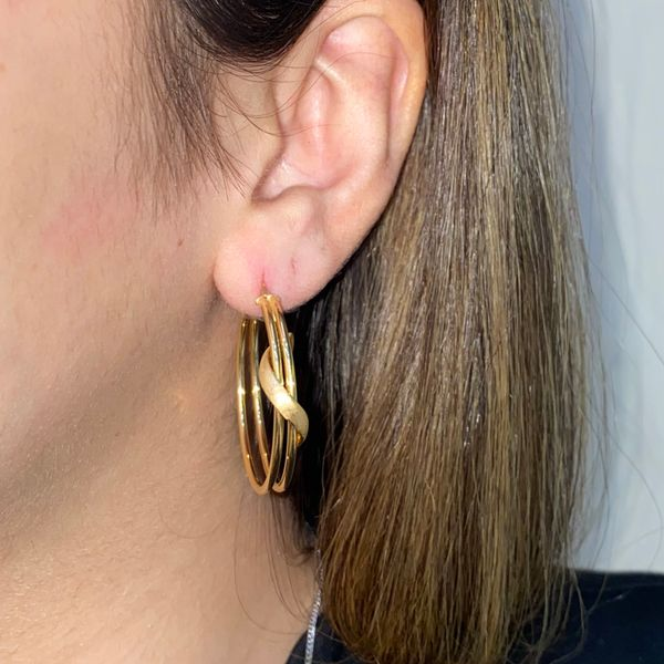 14K Satin Finish Medium Hoop Earring  Image 3 Martin Busch Inc. New York, NY