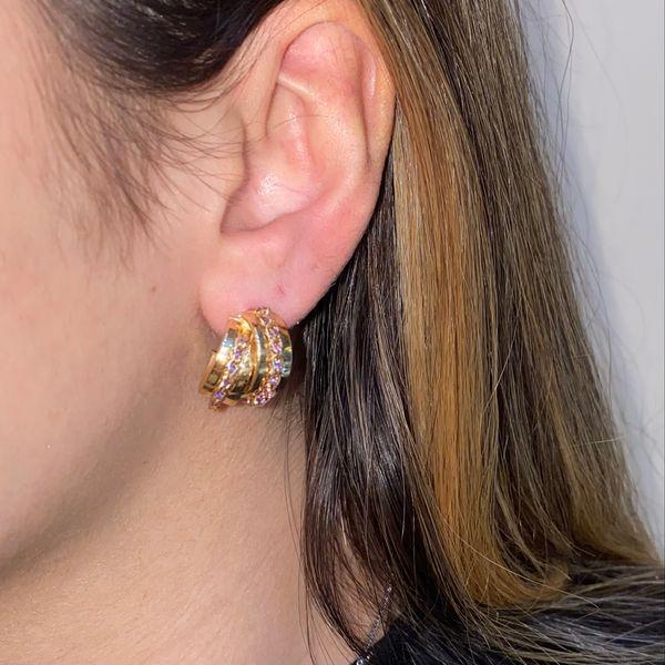 14K Medium Hoop Earrings with Amethyst Image 4 Martin Busch Inc. New York, NY
