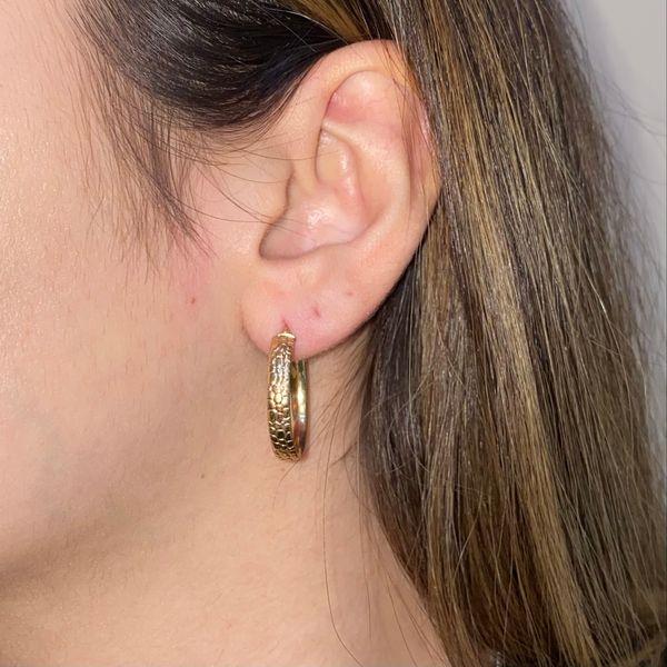 14K Engraved Medium Hoop Earrings Image 4 Martin Busch Inc. New York, NY