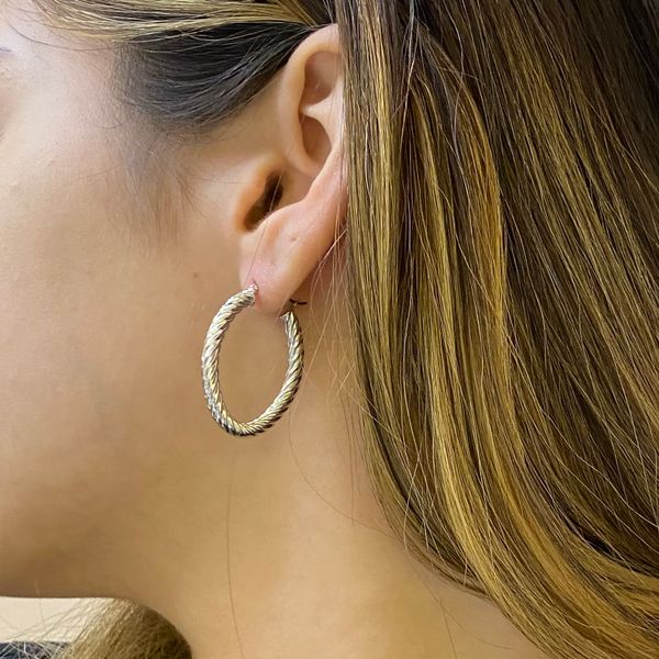 White Gold Twisted Oval Hoop Earrings Image 3 Martin Busch Inc. New York, NY