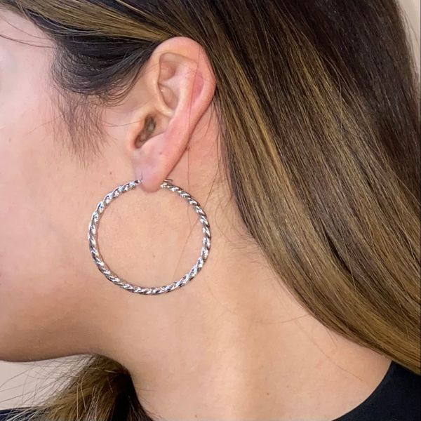 White Gold Twisted Hoops Image 3 Martin Busch Inc. New York, NY