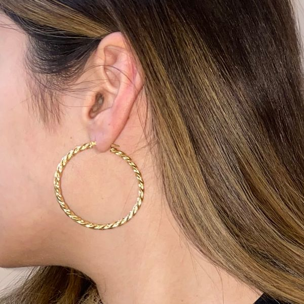 Twisted Yellow Gold Hoops Image 3 Martin Busch Inc. New York, NY