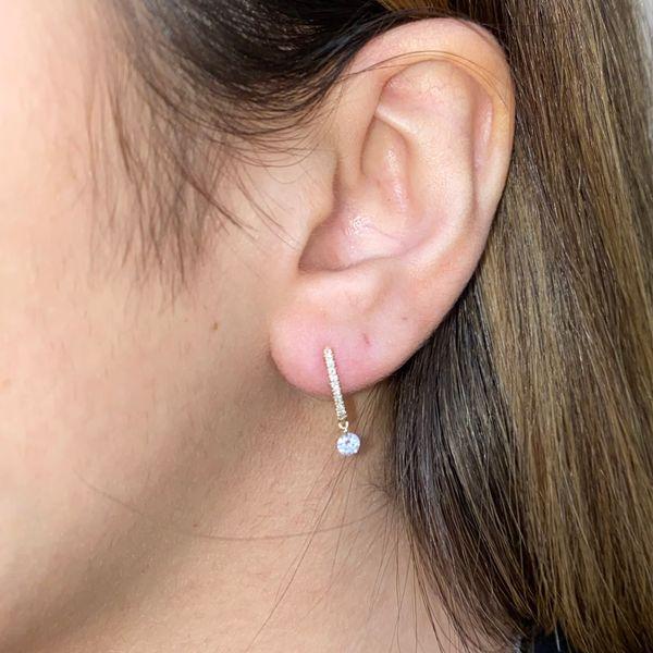 14K Diamond Huggie Hoops with Single Drop Diamond Image 2 Martin Busch Inc. New York, NY