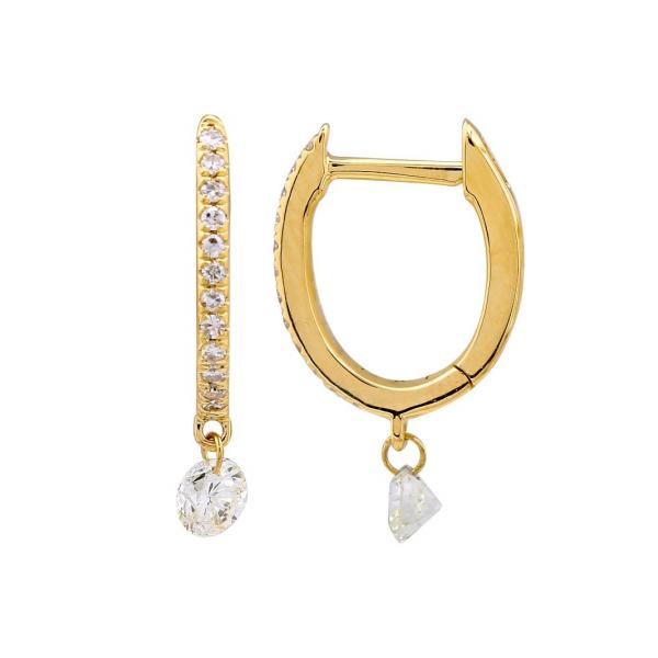 14K Diamond Huggie Hoops with Single Drop Diamond Martin Busch Inc. New York, NY