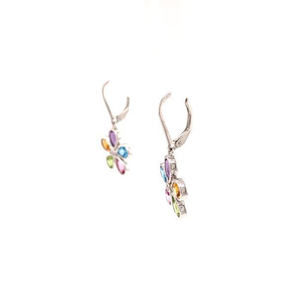 Silver Floral Gemstone Earrings Image 2 Martin Busch Inc. New York, NY