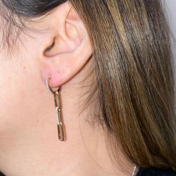 14K Paperclip Diamond Drop Earrings Image 2 Martin Busch Inc. New York, NY