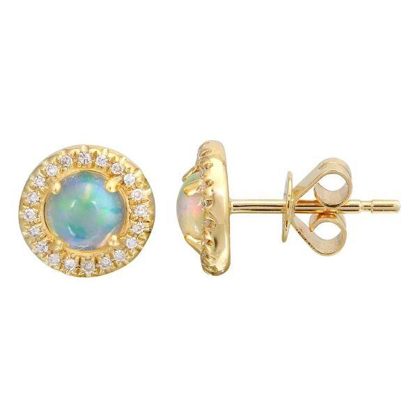 Opal and Diamond Halo Earrings Martin Busch Inc. New York, NY