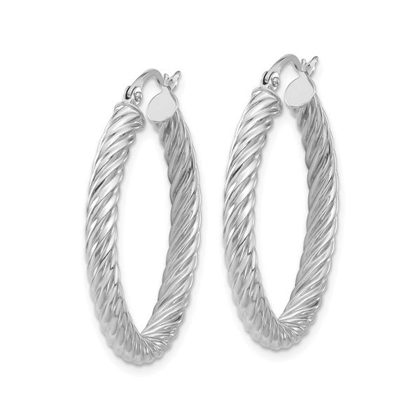 White Gold Twisted Oval Hoop Earrings Image 2 Martin Busch Inc. New York, NY