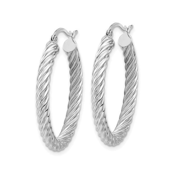 White Gold Oval Twisted Hoops Image 2 Martin Busch Inc. New York, NY