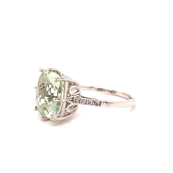 Silver Cushion Cut Quartz Ring with Diamonds Image 2 Martin Busch Inc. New York, NY
