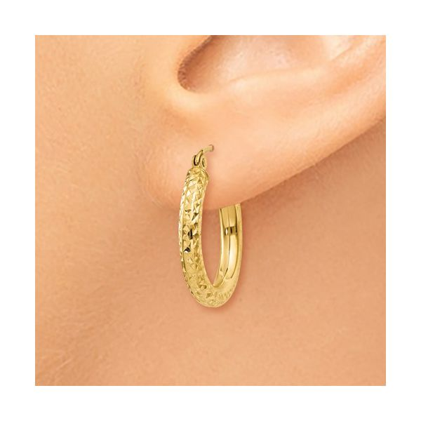 Diamond Cut Hoop Earring Image 3 Martin Busch Inc. New York, NY