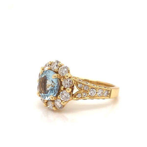18KT Gold & Aquamarine Diamond Ring Image 2 Martin Busch Inc. New York, NY