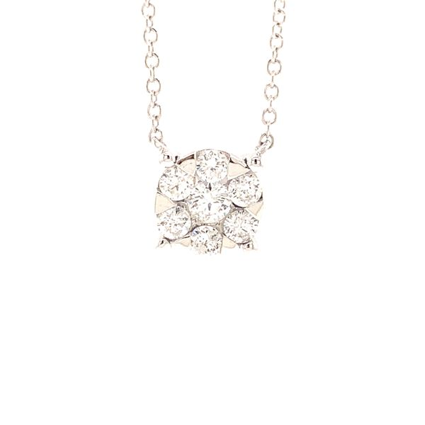 Lady's White 14 Karat Cluster Pendant