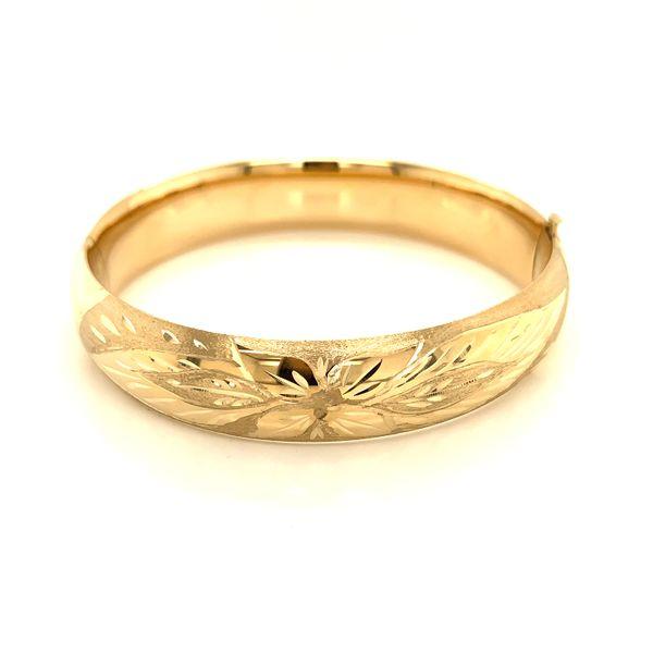 14K Yellow Gold Florentine Engraved Hinged Bangle Bracelet Image 2 Martin Busch Inc. New York, NY