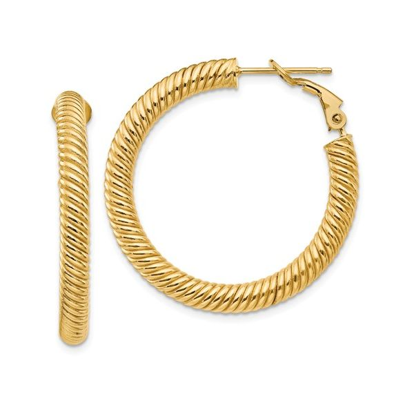 Twisted Omega Back Gold Hoop Image 2 Martin Busch Inc. New York, NY