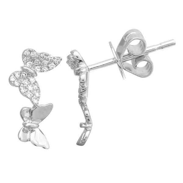 White Gold Butterfly Earrings Martin Busch Inc. New York, NY