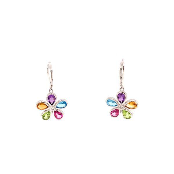 Silver Floral Gemstone Earrings Martin Busch Inc. New York, NY