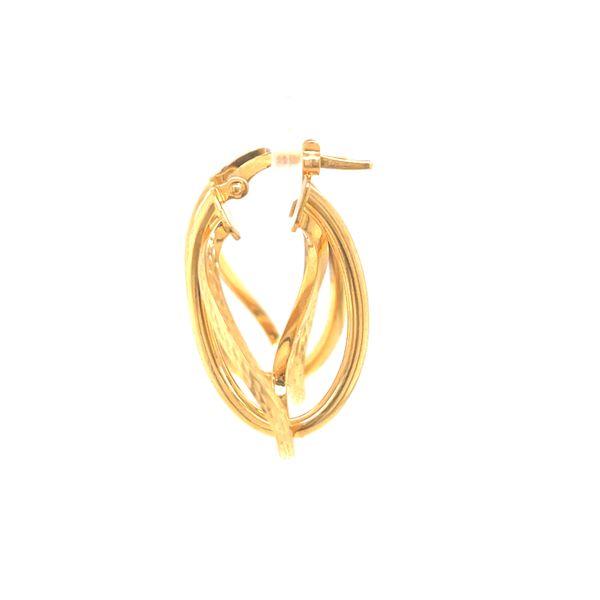 14K Medium Double Hoop Earrings Image 2 Martin Busch Inc. New York, NY
