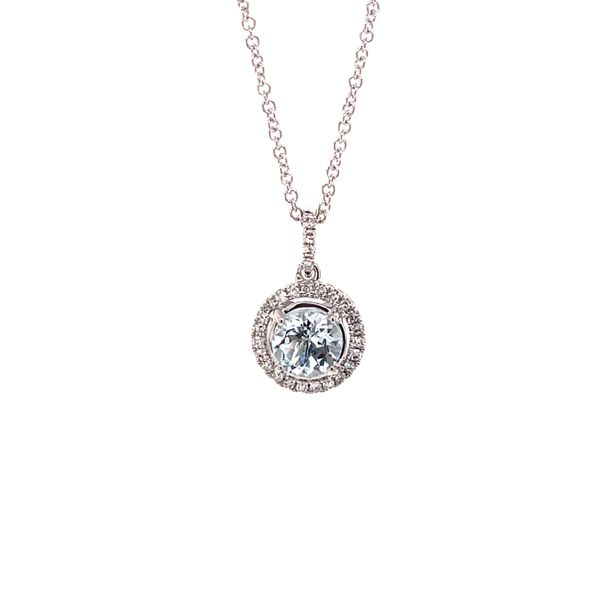 14K White Gold Aquamarine & Diamond Pendant Martin Busch Inc. New York, NY