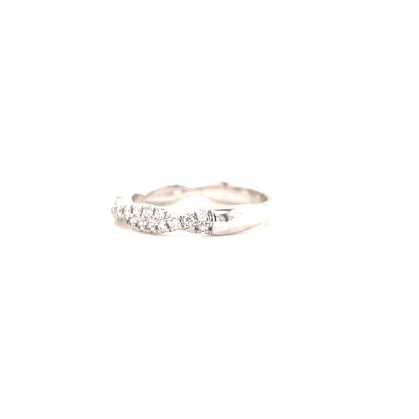 14K White Twisted Diamond Band Image 2 Martin Busch Inc. New York, NY