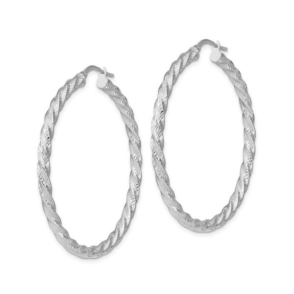 White Gold Twisted Hoops Image 2 Martin Busch Inc. New York, NY