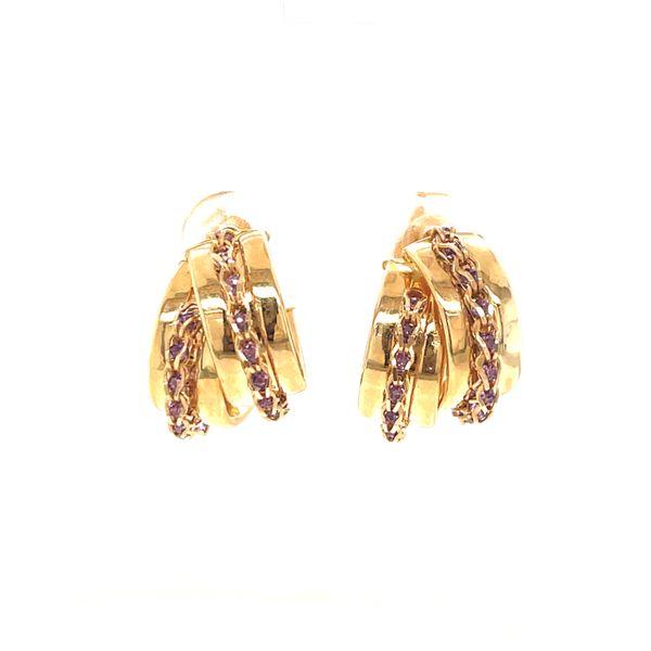 14K Medium Hoop Earrings with Amethyst Martin Busch Inc. New York, NY