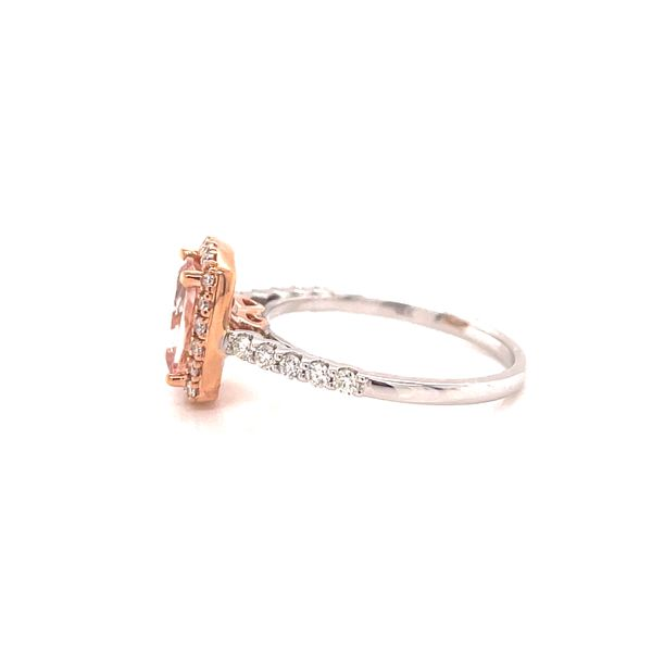 18K Morganite and Diamonds Halo Ring Image 2 Martin Busch Inc. New York, NY