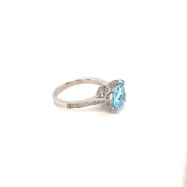 Blue Topaz and Diamond Halo Ring Image 2 Martin Busch Inc. New York, NY
