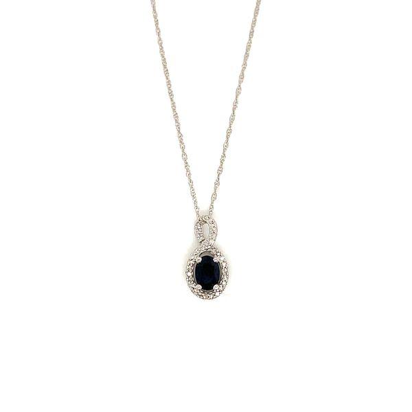 Sapphire and Diamond Halo Pendant Martin Busch Inc. New York, NY