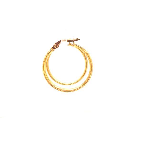 14K Engraved Medium Hoop Earrings Image 2 Martin Busch Inc. New York, NY