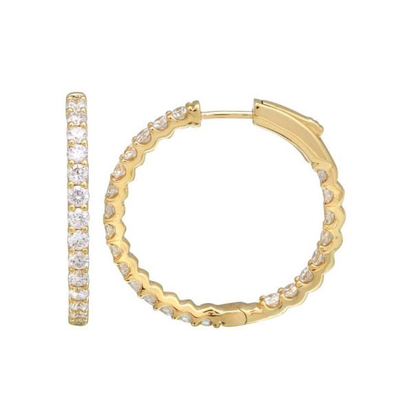 14K Medium Lock Closure Diamond Hoop Earring Martin Busch Inc. New York, NY