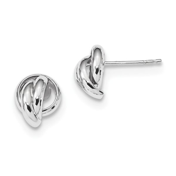 White Gold Polished Love Knot Earrings Martin Busch Inc. New York, NY