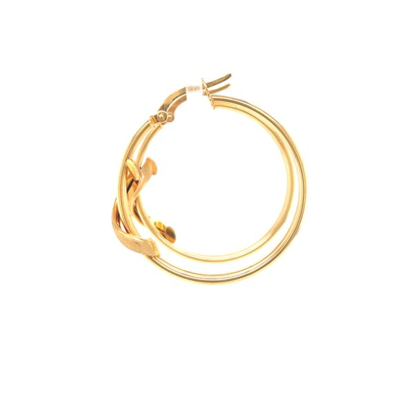 14K Satin Finish Medium Hoop Earring  Image 2 Martin Busch Inc. New York, NY