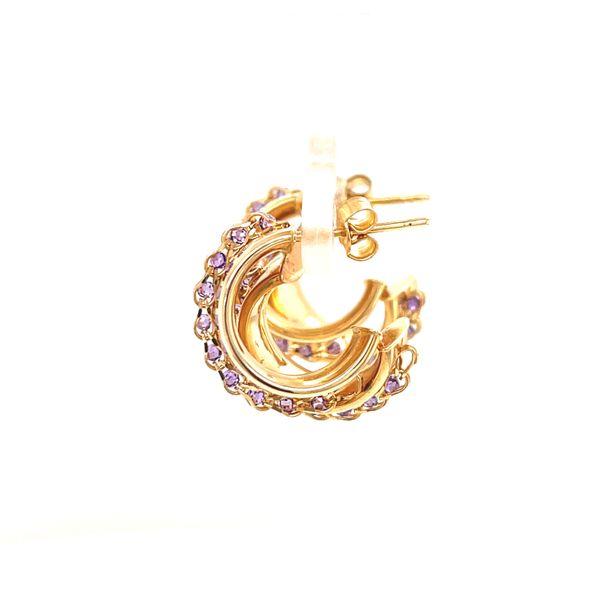 14K Medium Hoop Earrings with Amethyst Image 3 Martin Busch Inc. New York, NY
